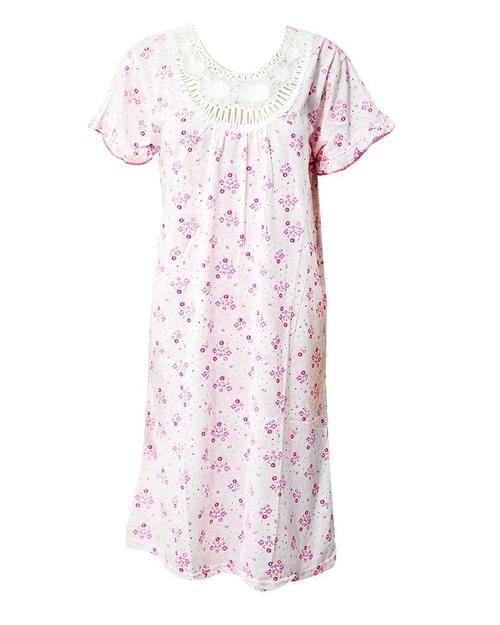a10f457a50 Stylish White Long Nighty With Pink Flower Print 111.9 - Women Nightdress