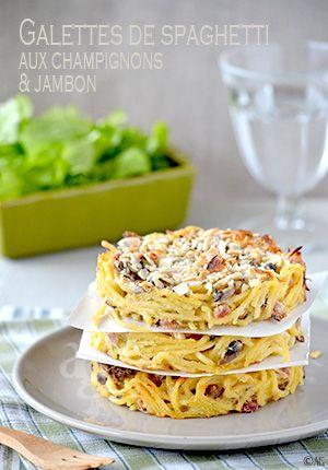 Alter Gusto   Galettes de spaghetti aux champignons & jambon -