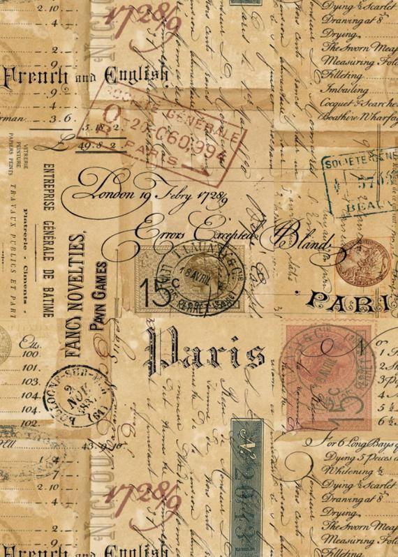 Printable Ephemeral Parisian Script Signage Stamps Correspondance Atc Vintage Di In 2020 Vintage Scrapbook Paper Vintage Paper Printable Vintage Paper Background