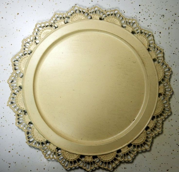 Antique Lace pattern CHARGER PLATE Metal cream color Victorian English NEW #Giftcraft