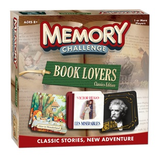 Memory: Book Lovers Classics Edition - Challange your memory with a literary twist!    96 literary cards feature famous authors, classic literature book covers and literary quotes.  Glossary cards add strategy and interaction.  Profession cards allow players to choose a literary role and earn bonus points.  $15.00
