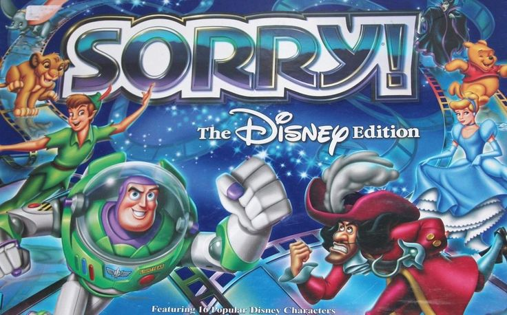 Sorry Game Board Disney Edition 16 Characters Complete Set Ages 6+ Card Deck  #Disney