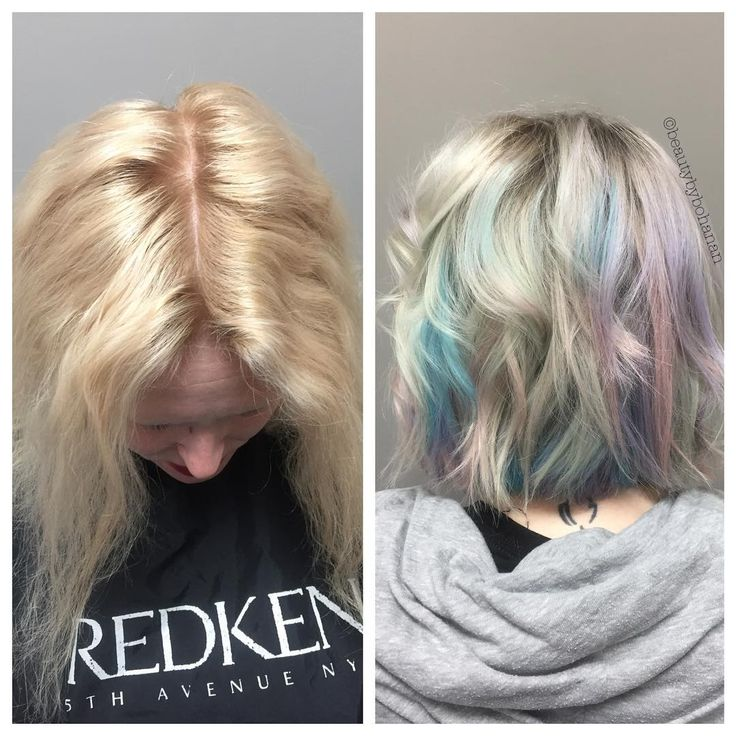 "41 Likes, 6 Comments - Michelle Bohanan (@beautybybohanan) on Instagram: ""Definitely my fave transformation so far! 🦄🙌🏽 #opalhair #unicornhair @joifirefaerie @salonzwichita"""