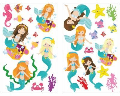 Simple Meerjungfrau und Tiere Wandtattoo Set Meerjungfrau und Tiere Wandaufkleber Set