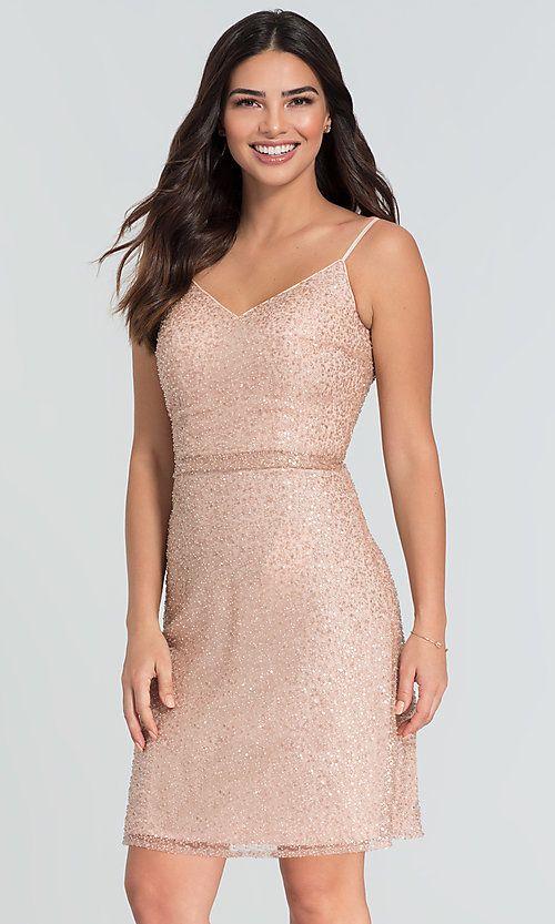 907e4336720 Image of short v-neck beaded Kleinfeld bridesmaid dress. Style  KL-200074