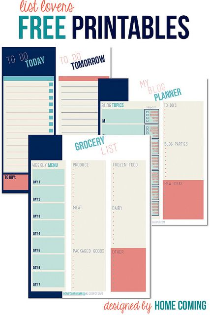 Free printable planners - grocery list, to do list