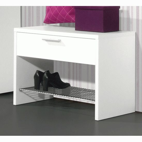 Primus Modern Shoe Rack Stand In White With Drawer will help in preserving the look and feel of your footwear. Features: Primus Modern Shoe Rack Stand In White With Drawer White MDF Elegant, attractive shoe rack 1 drawer to store your accessories & Chrome finish shelf Easy to assemble and use Elegant pull handle that can offer an additional storage space It will create a great looking unit in your hallway At an affordable price Dimensions: Width: 75cm Height: 50cm Depth: