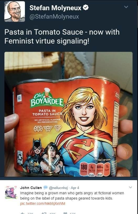 """Feminist virtue signaling""? For advertising female superheroes for a change?? This man's reaction is a perfect example of why we need feminism. We can have Disney princesses in our pasta, because advertising submissive women is okay, but God forbid we show powerful, confident women to girls. He has also proven that anti-feminists' greatest fear is women having pride + confidence in themselves"