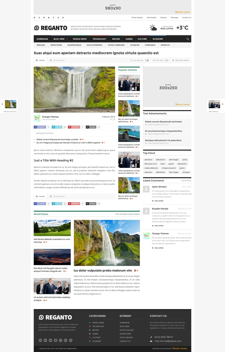 Reganto - Massive Magazine Theme - News / Editorial Blog / Magazine #wordpress #theme #website #template #responsive #design #webdesign #flat #flatdesign #news #magazine #blog