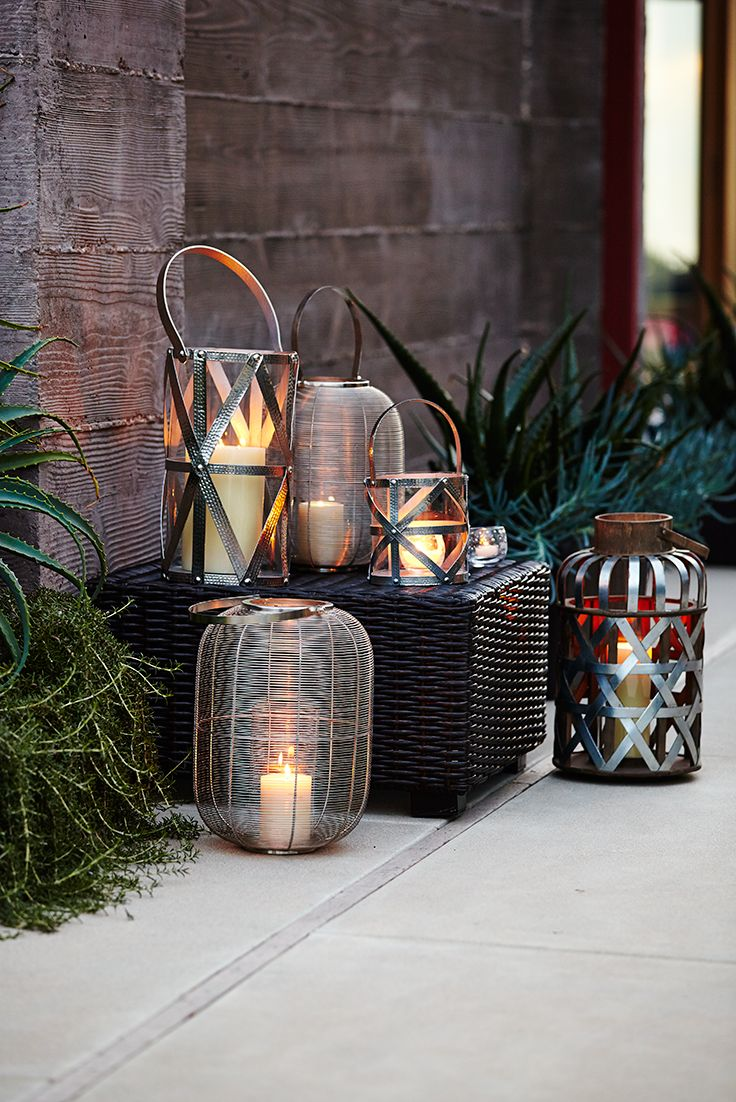These Pier 1 lanterns show that modern and traditional can get along beautifully. Handcrafted metal pairs with sleek styling for a look that would appeal at any time—past, present or future. Group them together for a relaxing setting anytime.