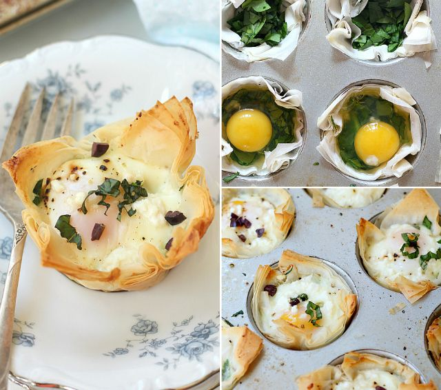 A healthy low calorie vegetarian recipe made of eggs, spinach, basil and goat cheese baked in a crispy phyllo dough pastry crust (or spelled fillo or filo dough). These Spinach and Egg Baked Phyllo Cups are baked to perfection, super healthy, high protein and should be added to your list of cheap healthy meals!