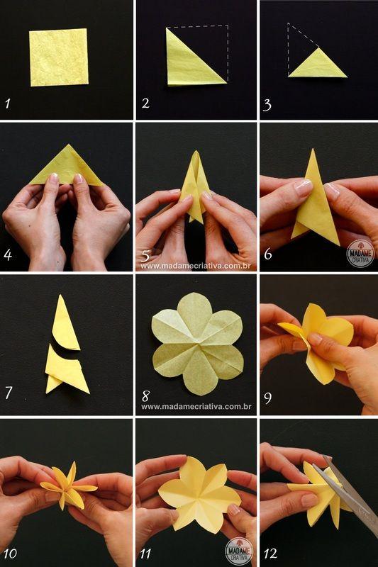 dobrando e colando -- Como fazer Narcisos de papel-  Passo a passo com fotos - How to make paper flowers / daffodils - DIY tutorial  - Madame Criativa - www.madamecriativa.com.br                                                                                                                                                                                 Mais