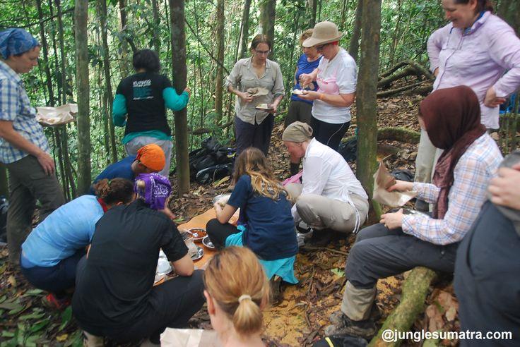 Lunch Time in the middle of @junglesumatra.com #rainforest #bukitlawang #jungletrekking