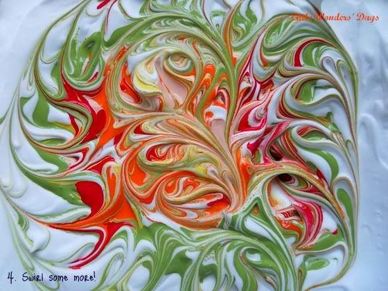 Shaving cream swirl painting