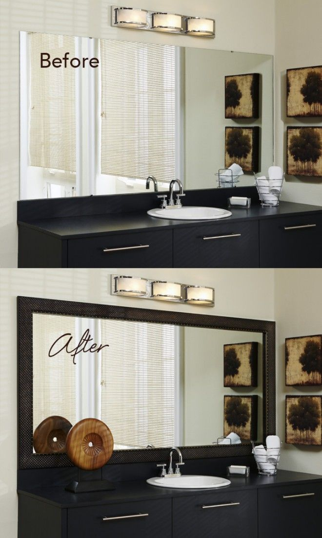The mirror is the biggest focal point in the bathroom - make it pop with a frame!