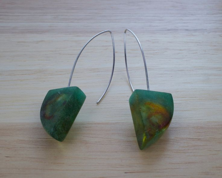Green Triangular long Earring Unique! by karinadelirio on Etsy