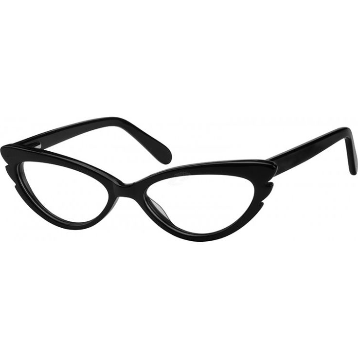 A cat-eye style, acetate full-rim frame with spring hinge.