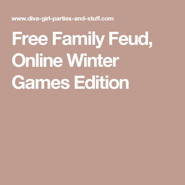 Free Family Feud, Online Winter Games Edition