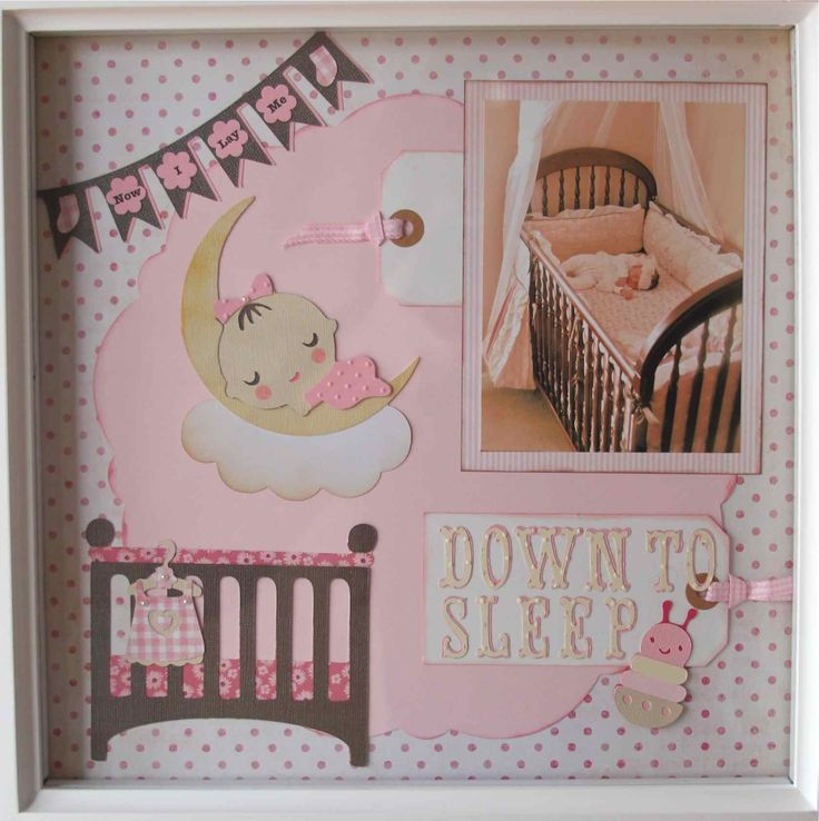 Down to Sleep - Scrapbook.com - I used my Cricut and several carts to compose this layout featuring my newborn sleeping in her crib. Carts include: April Showers, Baby Stpes, CTMH Art Philosophy, and Storybook (S)