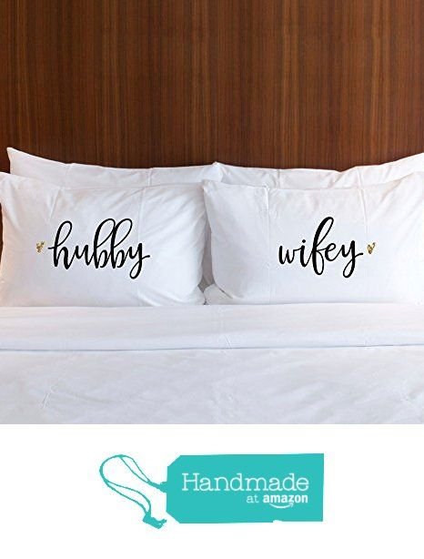 "Bed Pillowcases Set for Couples, Wedding ""Hubby & Wifey"" Newlywed Pillowcase Gift Set for Pillows, Wedding Gift for Newlyweds, Gift for Him or Gift for Her from Z Create Design"