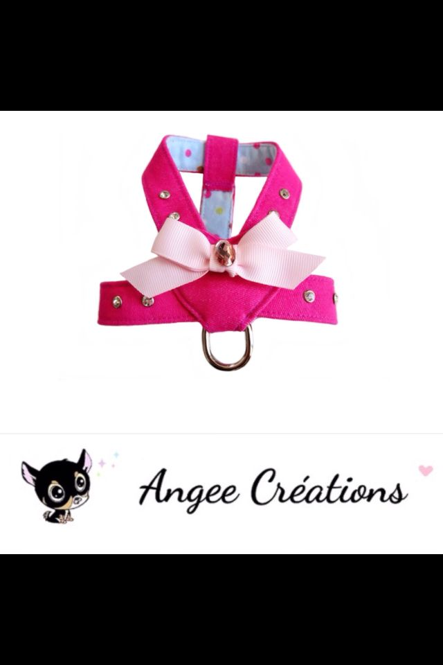 Harnais Girly pour petit chien marque Angee Créations.   http://www.alittlemarket.com/boutique/angee-creations