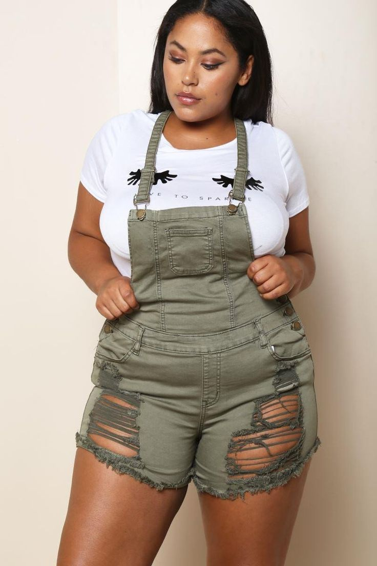 Plus Size Distressed Shorts Overalls Olive