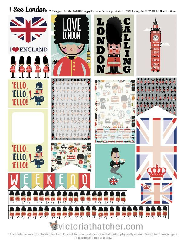 Free Printable London Planner Stickers from Victoria Thatcher