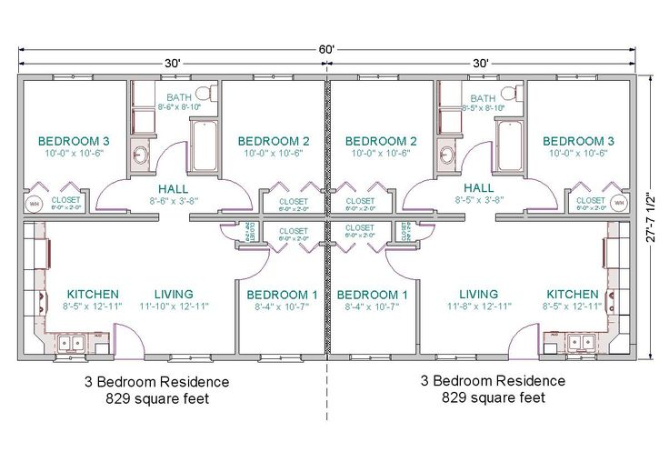 Basic for duplex guest house 6 bedrooms total duplex 28x60 3 bdrm 1 bath floor 1202 for Guest house floor plans designs