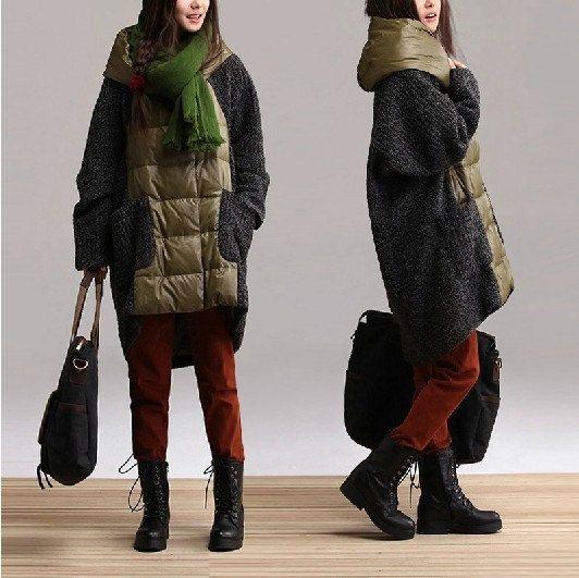 Casual Long Sleeved down jacket Dress Knitwear Blouse Shirt-  wool coat wool sweater woman Coat(197)