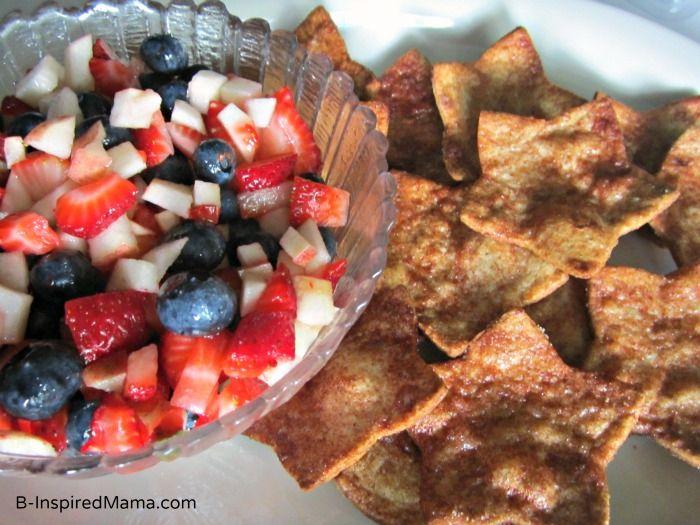 Patriotic Fruit and Star Chips Recipe at B-InspiredMama.com