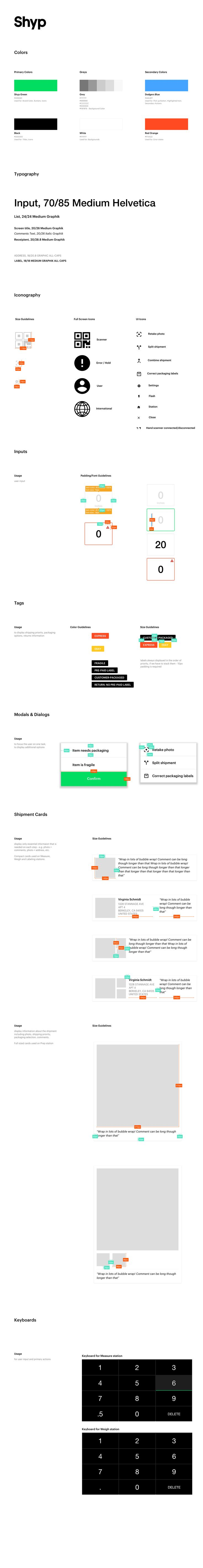 Shyp Anchor app Style Guide – Style guide by Julia