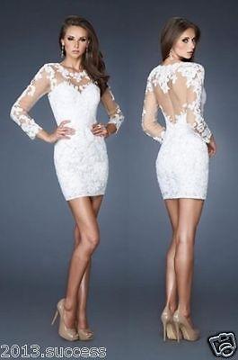 Длинный рукав белое кружево короткое коктейльное платье тонкий официальное вечернее выпускное платье