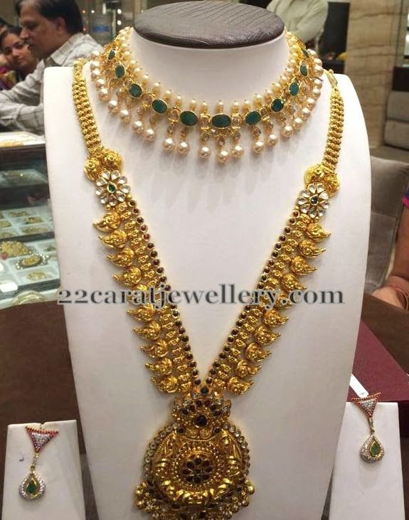 Jewellery Designs: Mango Haar and Emerald Choker
