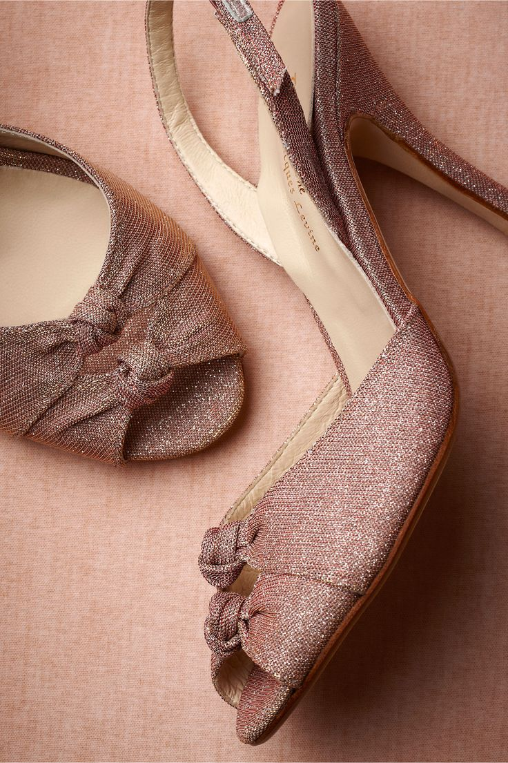 Sugar Plum Slingbacks from BHLDN. Pale rose leather is given a sleek silhouette and a million-faceted finish. Two hundred sixty.