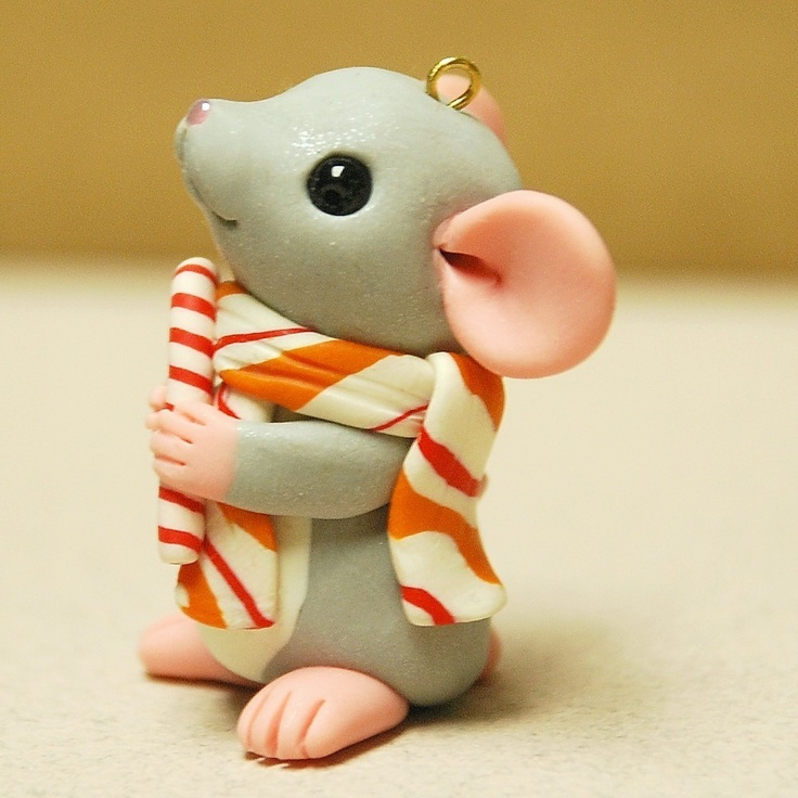 *POLYMER CLAY ~ Mouse with Candy Cane Ornament by Shelly Schwartz