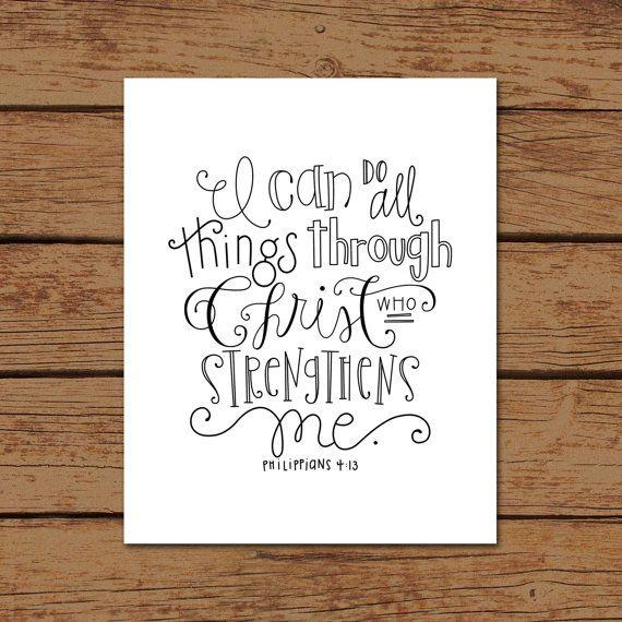 Philippians 4:13 Bible Verse Hand drawn Art by sincerelyterilea