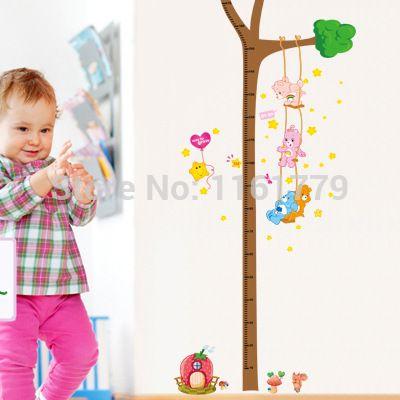 1 Conjunto Urso Altura Adesivos Criança Governante Altura Da Árvore Adesivos de Parede 2 m Crescer Medida para o Quarto Dos Miúdos Dos Desenhos Animados PVC Removível decoração(China (Mainland))