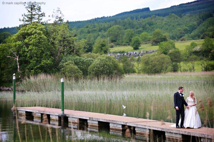 Bride & groom at Lough Meelagh near Kilronan Castle wedding photographer kilronan