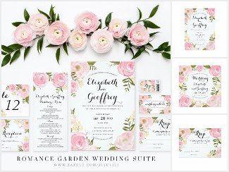 Romance Garden Wedding Suite Romance Garden Wedding Stationery Suite |  Elegant Light Pink Wedding Invitation With