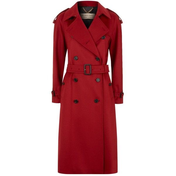 Burberry Cashmere Trench Coat (69 265 UAH) ❤ liked on Polyvore featuring outerwear, coats, button coat, button trench coat, trench coats, cashmere coats and red sports coat