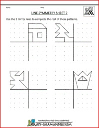 Line Symmetry Worksheets, a selection of symmetry worksheets with 2 lines of symmetry for 3rd grade