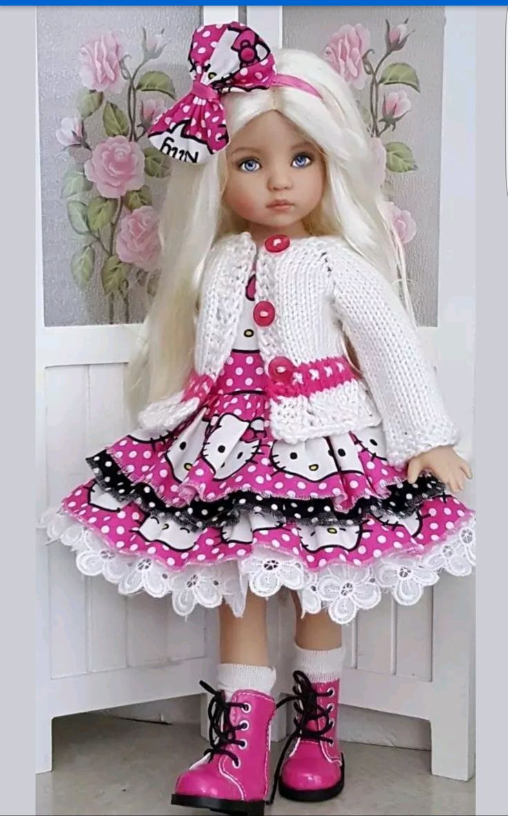 Hand-knit Kitty sweater and dress set made for Effner Little darling dolls ebay…