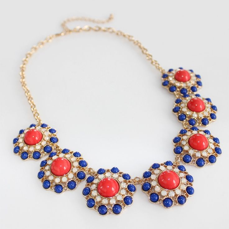 Red & Blue Colorblock Cabochon Circles Necklace