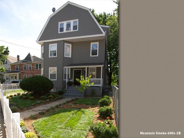 Valspar Color Palette Main Color: Mountain Smoke 6004 2B Trim: Bistro White  7006. Exterior House ...