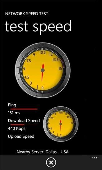 """Ferramenta Network Speed Test verifica velocidades da rede 3G e WiFi.É possível verificar as velocidades de conexão à internet do seu aparelho Windows Phone e acompanhar o tráfego de dados, as taxas de download e as de upload através do aplicativo """"Network Speed Test"""", desenvolvido pela própria Micr"""
