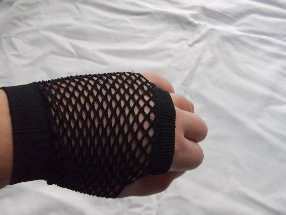 short black fishnet mittens one size by rabbitsillusions on Etsy