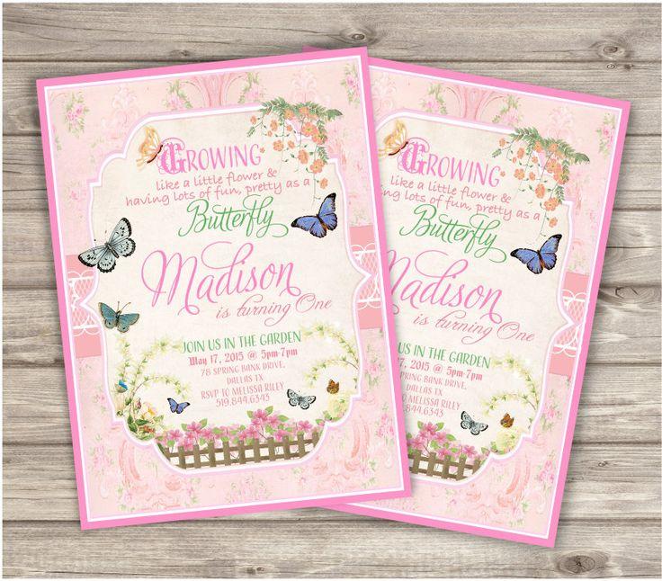 Butterfly Garden Birthday Invitations Printable First