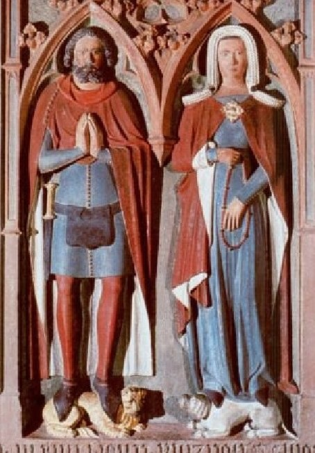 Very nice, elegant garments from the XIV century in this painted effigy