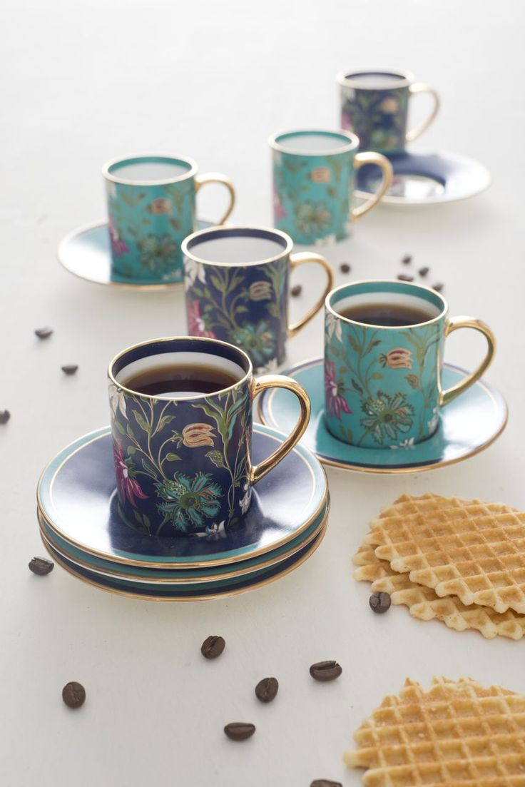 A #charming espresso #coffee set in colors of #RoyalBlue and #turquoise inspired by a #Mughal garden, a part of FARAH BAKSH collection. Perfect for after dinner coffee or for serving coffee anytime of the day. Makes a perfect gift for weddings or anniversaries. Shop the set on our #WebBoutique #GiftIdeas