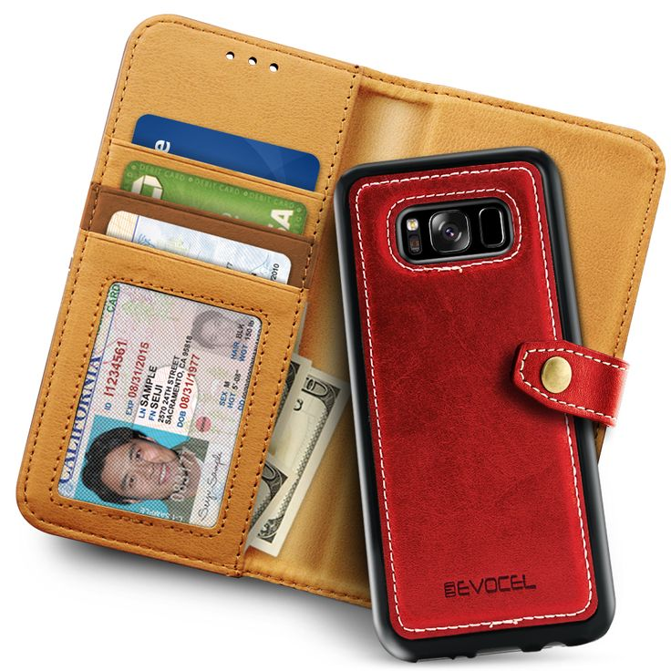 Galaxy S8 Plus Case Evocel Wallet Case with Detachable Slim Case [Renaissance Series] 3 Credit Card / ID Slots [Cash Pocket] [Premium Faux Leather] [Magnetic Slim Case] For Galaxy S8 (SM-G955) (2017 Release) Red (EVO-SAMG955-RW03)